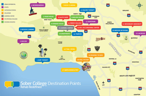Sober College Locations Interative Map
