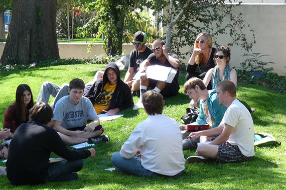 Students on the Campus Lawn During Teen Drug Rehab