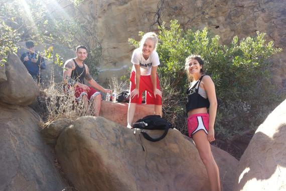 Members of a Sober House Rock Climbing
