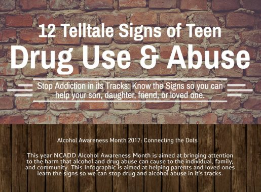 12 Signs of Teen Drug Abuse Infographic Alcohol Awareness Month 2017